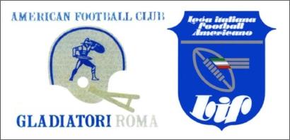 Il primo logo dei Gladiatori e lo stemma della LIF