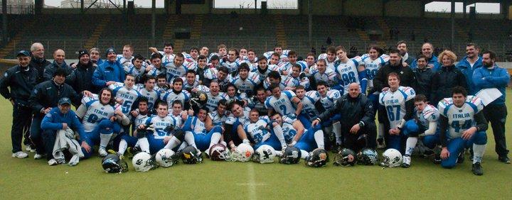 Il Blue team e i Seamen nello scrimmage a Milano - Foto Pellegrini