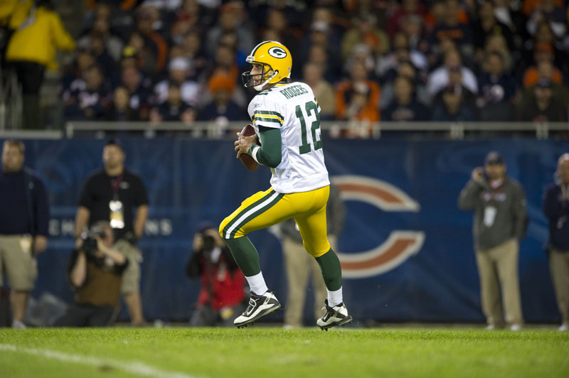 Aaron Rodgers, quarterback dei campioni in carica, i Green Bay Packers
