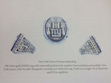 New York Giants SB Ring