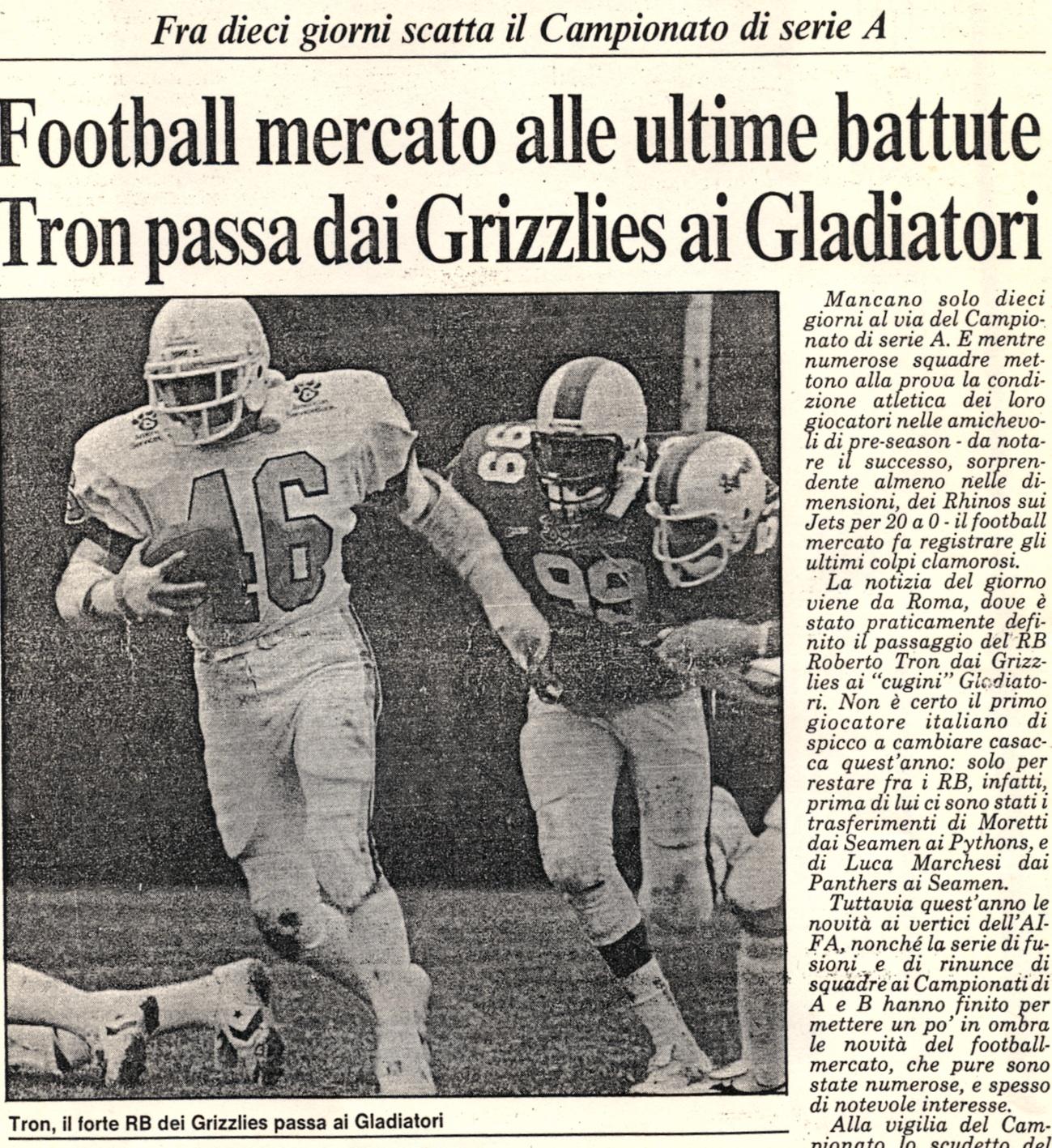 Tron ai Gladiatori