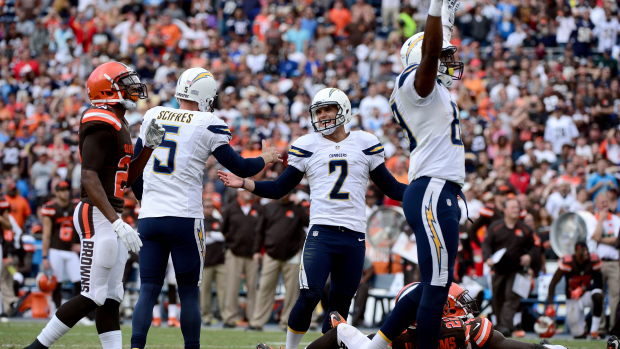 SAN DIEGO, CA- OCTOBER 4:  Josh Lambo #2 of the San Diego Chargers kicks the game-winning field goal against the Cleveland Browns during their NFL Game on October 4, 2015 in San Diego, California. (Photo by Donald Miralle/Getty Images)