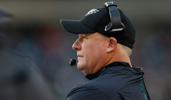 PHILADELPHIA, PA - NOVEMBER 22:  Head coach Chip Kelly of the Philadelphia Eagles looks on during the third quarter against the Tampa Bay Buccaneers at Lincoln Financial Field on November 22, 2015 in Philadelphia, Pennsylvania.  (Photo by Rich Schultz/Getty Images) ORG XMIT: 582319145 ORIG FILE ID: 498317010