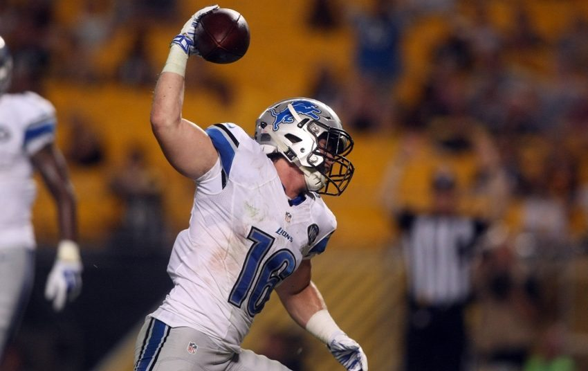Aug 12, 2016; Pittsburgh, PA, USA; Detroit Lions wide receiver Jace Billingsley (16) celebrates his touchdown against the Pittsburgh Steelers during the second half at Heinz Field. Detroit won the game, 30-17. Mandatory Credit: Jason Bridge-USA TODAY Sports