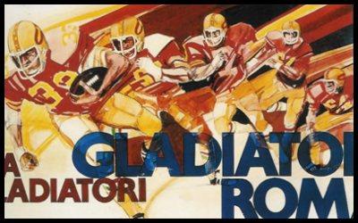 Riproduzione di una bozza della prima cartolina ufficiale dei Gladiatori