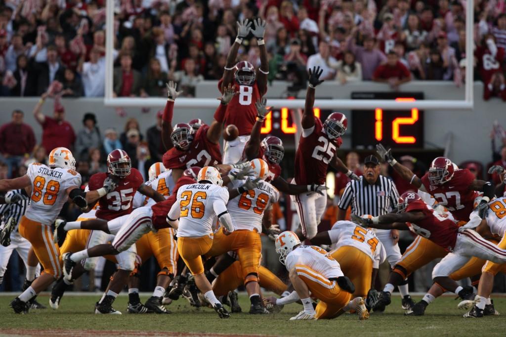 Alabama blocca il FG di Tennessee della vittoria, nel 2008